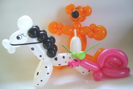 Luftballonfiguren Pferd, Schnecke, Bär